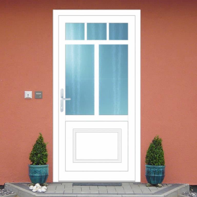 Haustüre NP180 Zierrahmen Sockel weiß