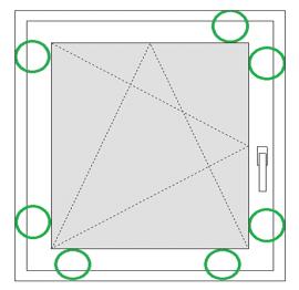 Fenster mit sieben Sicherheitspunkten