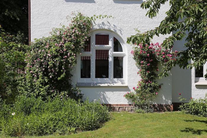 Weißes Haus mit Rundbogenfenster Kunststoff und Rosen