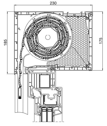 Rolladen Querschnitt Aufsatz 230x175