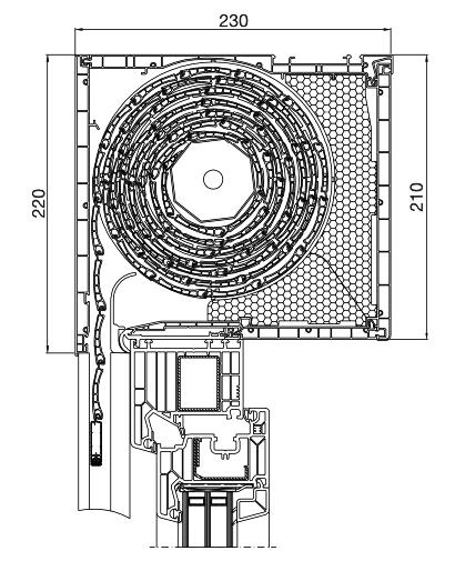 Rolladen Querschnitt Aufsatz 230x210