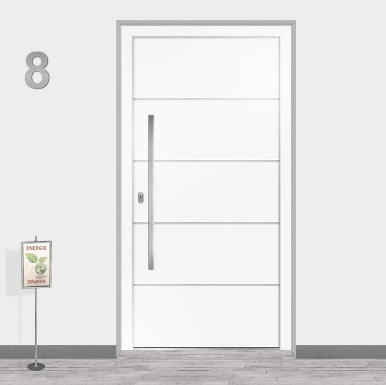Klinkerfassade mit Kunststofftüre weiß